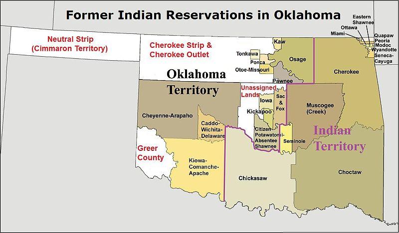 carte réserves indiennes oklahoma